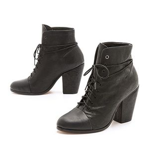 Rag & Bone Miles Lace Up Booties Black Leather 36